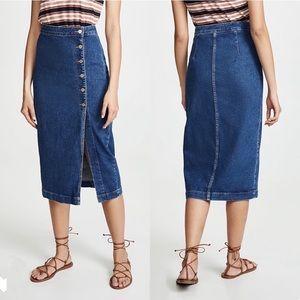 Free people Jasmin button midi denim jean skirt